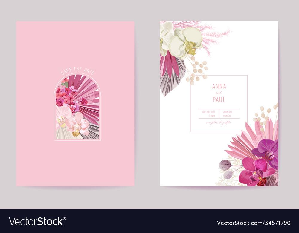 Wedding tropical floral card dry tropic
