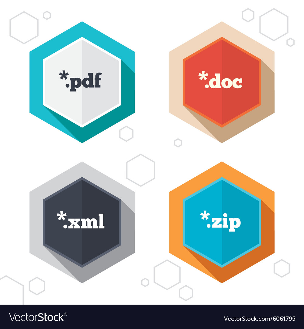 Document Signs File Extensions Symbols Royalty Free Vector