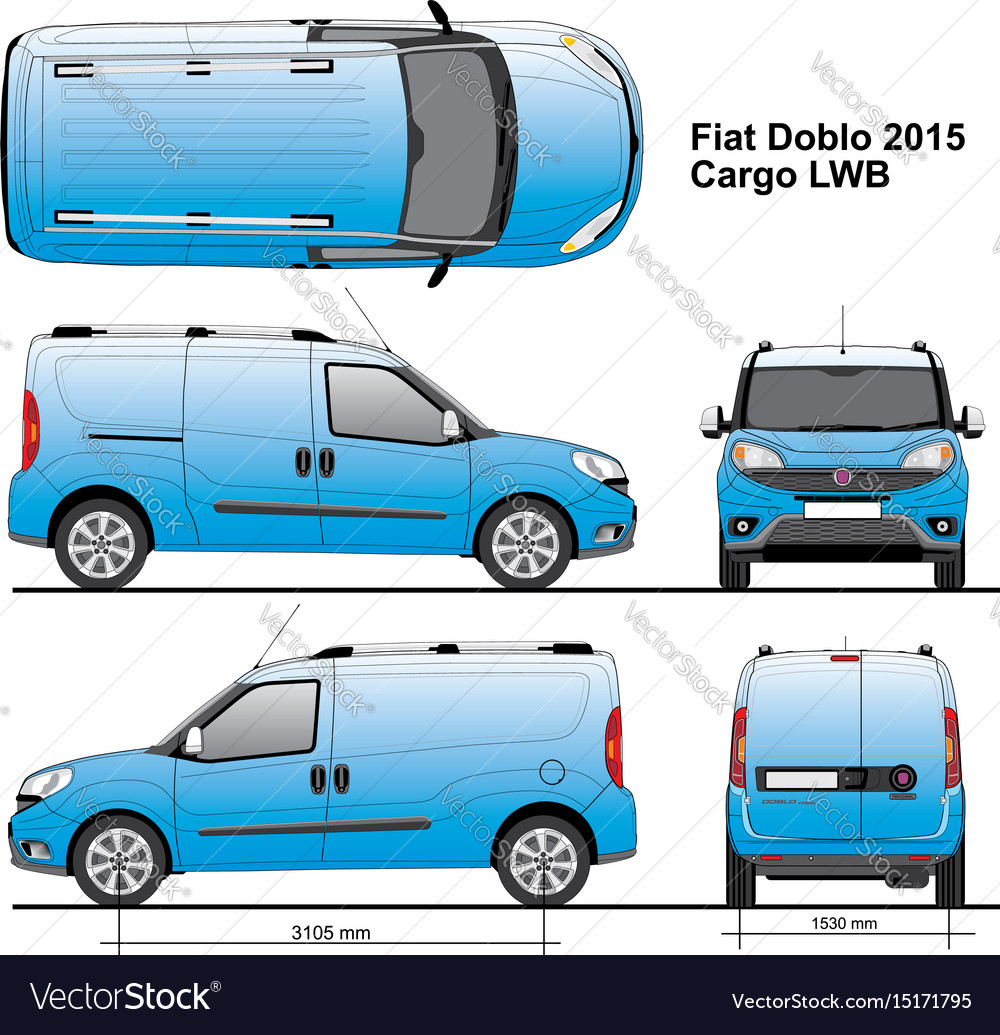 fiat doblo maxi cargo lwb 2015 royalty free vector image. Black Bedroom Furniture Sets. Home Design Ideas