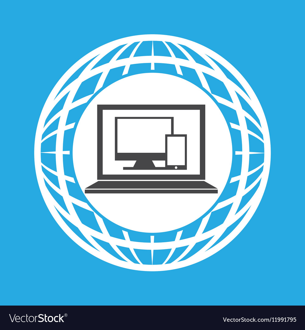 Globe computer technology communication vector image