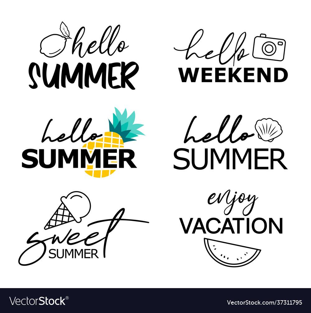 Hello summer hand drawn lettering set summer
