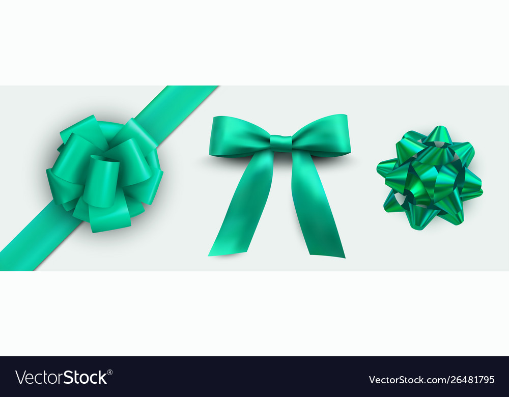 Holiday green ribbon package set packaging design