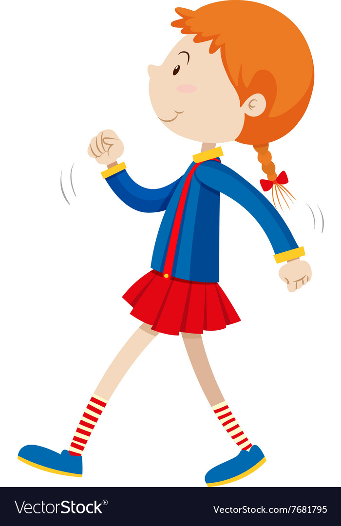 little girl walking alone royalty free vector image