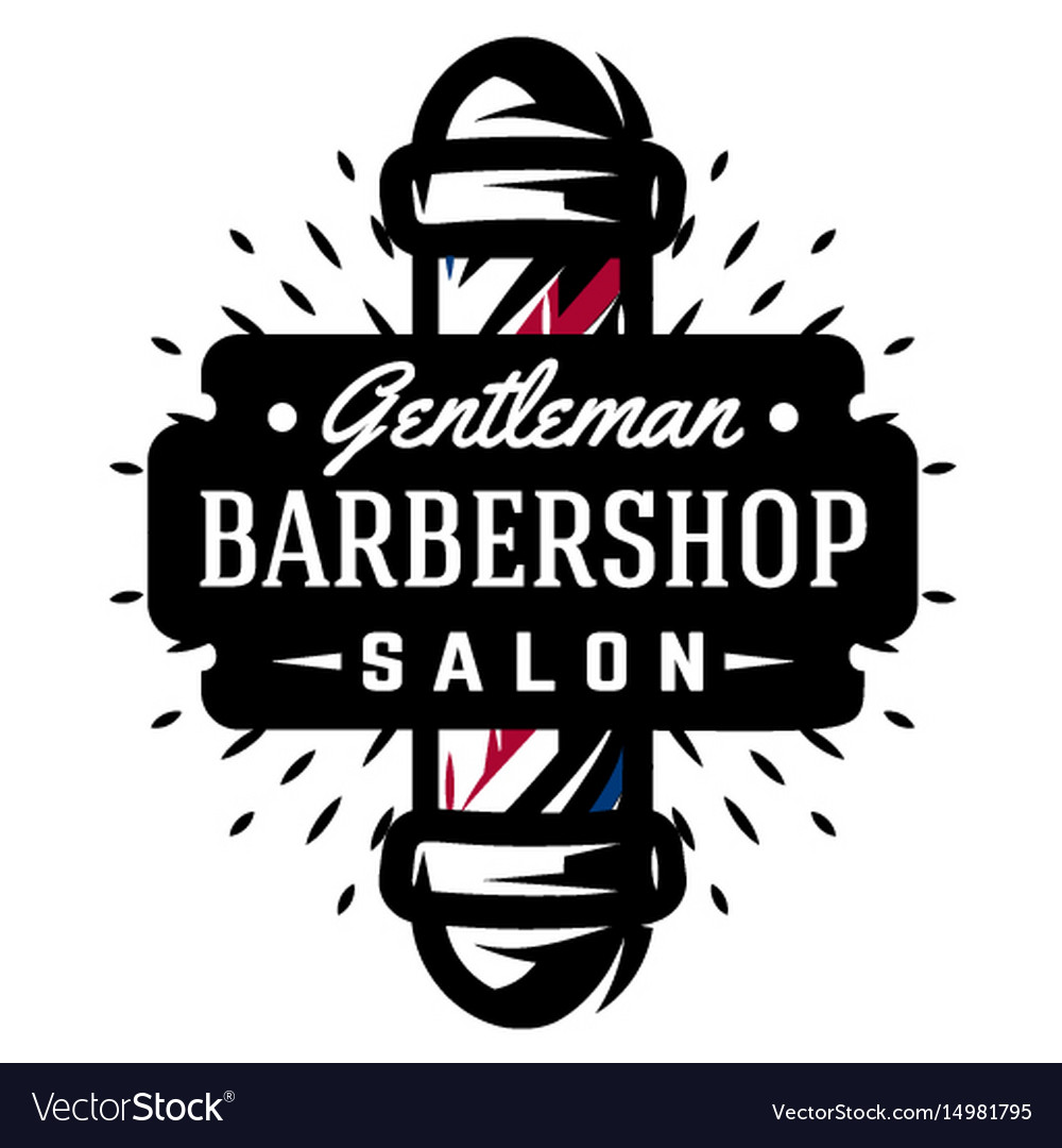 logo for barbershop with barber pole royalty free vector