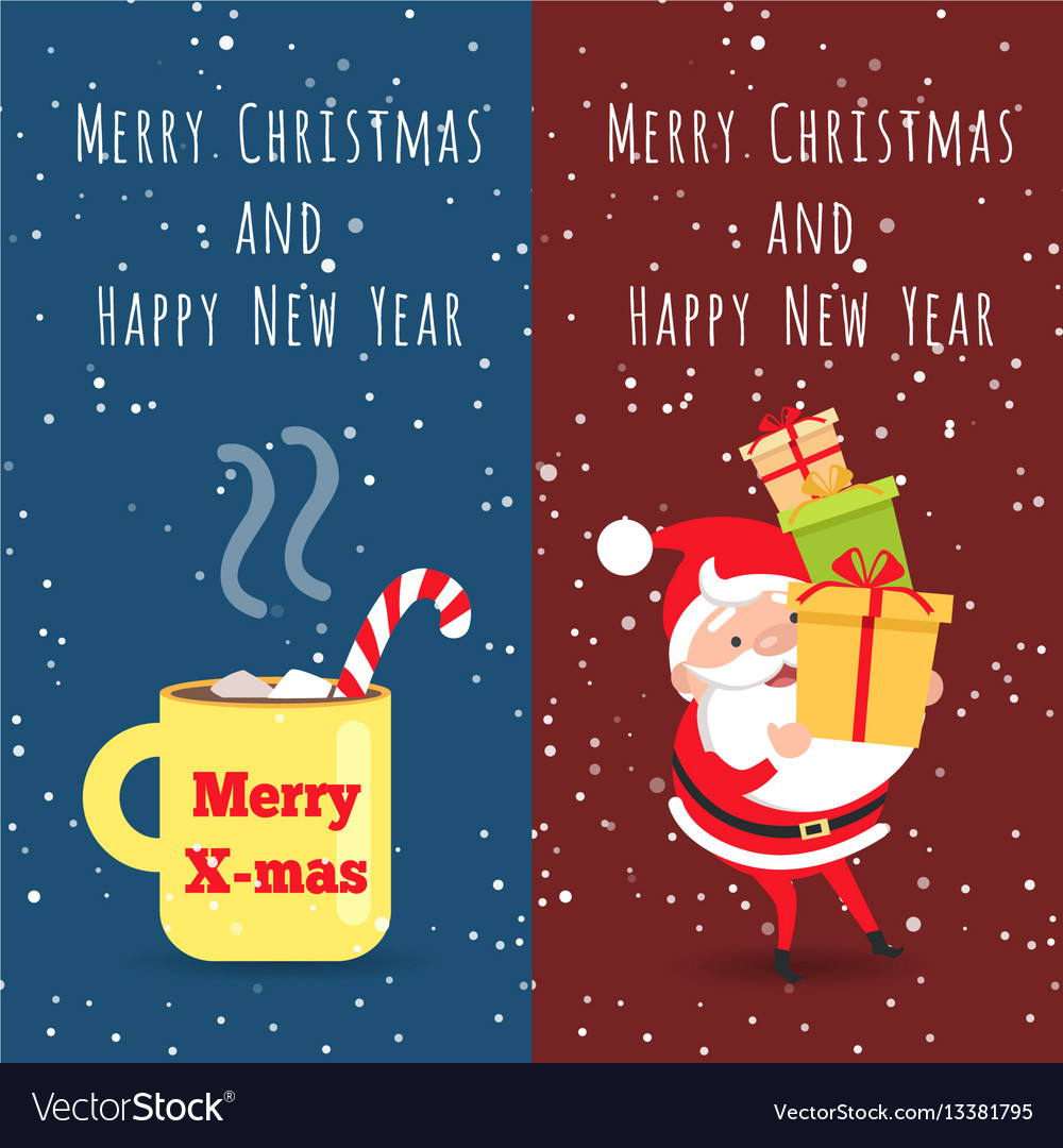 Merry christmas and happy new year cup santa