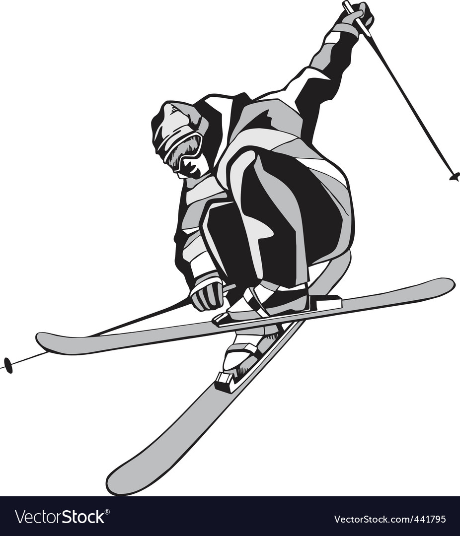 Mountain skier silhouette