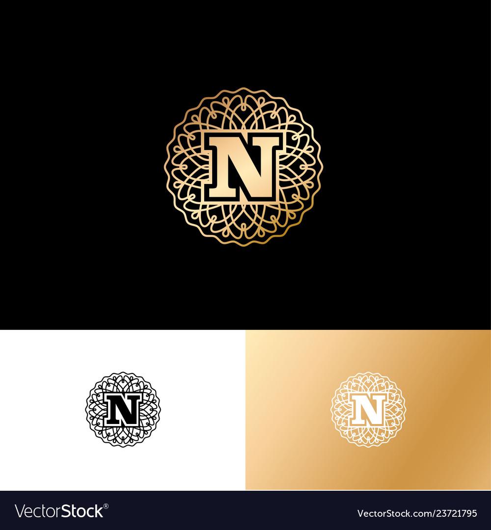 N gold letter monogram gold circle lace ornament
