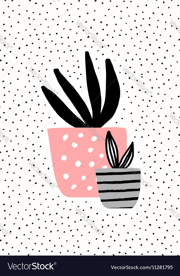Pink and Gray Pots with Plants vector image