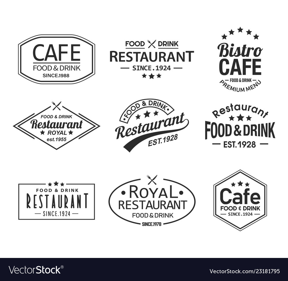 Set isolated cafe and restaurant logos vector