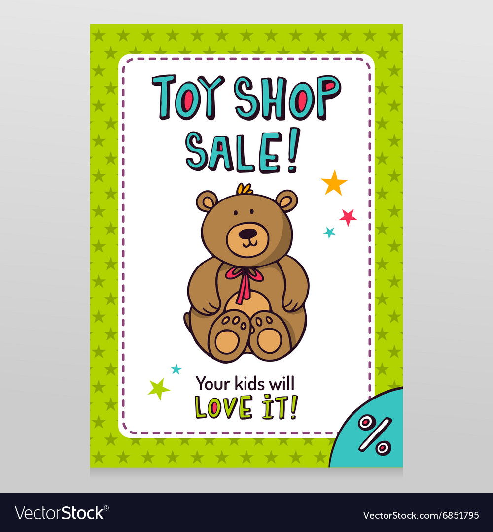Toy shop sale flyer design with Teddy bear vector image