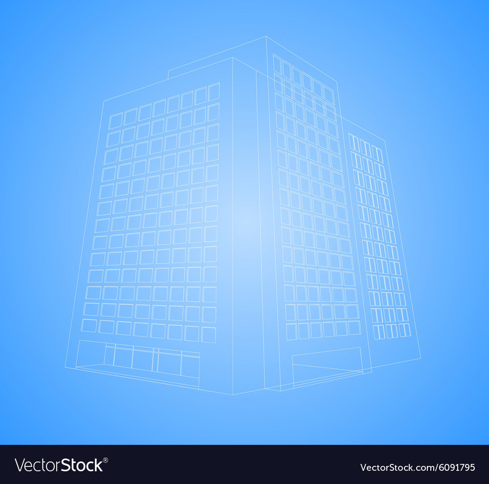 Wireframe office building