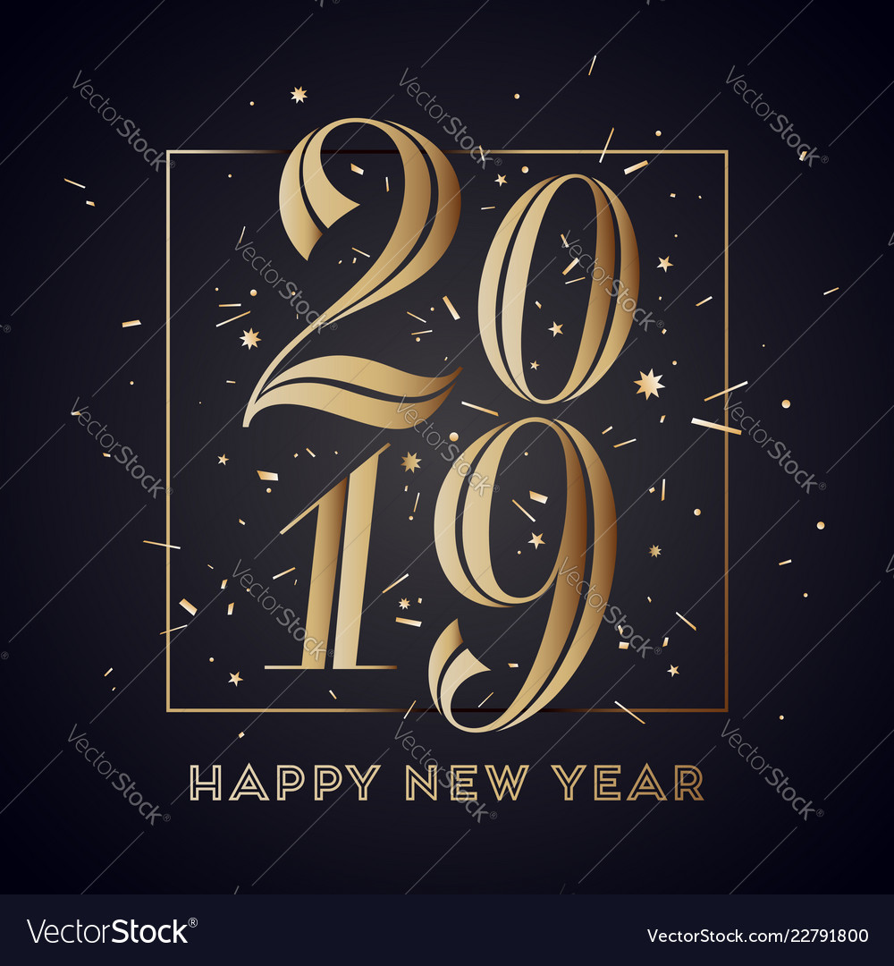 2019 happy new year greeting card with Royalty Free Vector