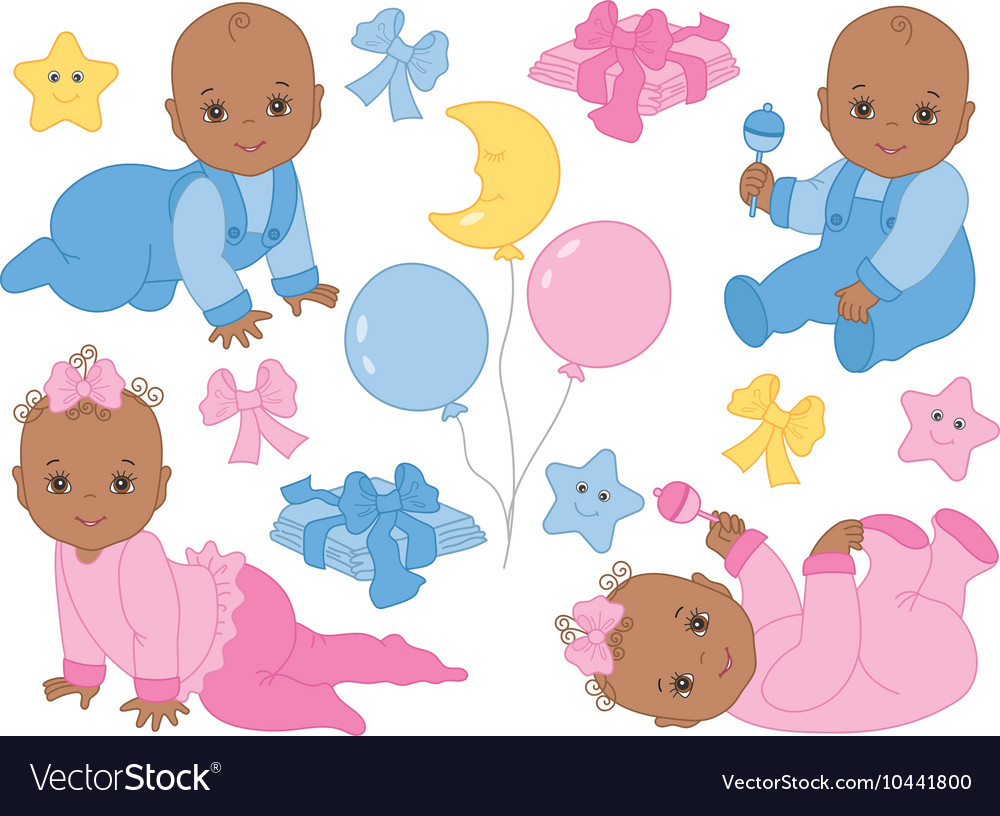 African American Baby Girl and Boy Set