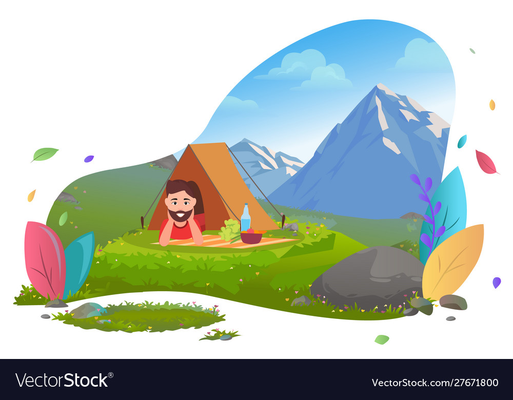 Camping in mountains traveler in tent on picnic