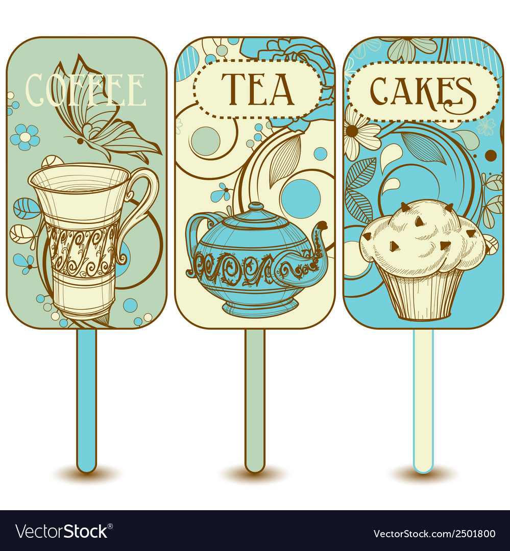 Coffee tea cupcakes labels