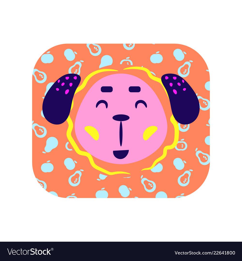 Cute cartoon happy animal sticker smiling dog in