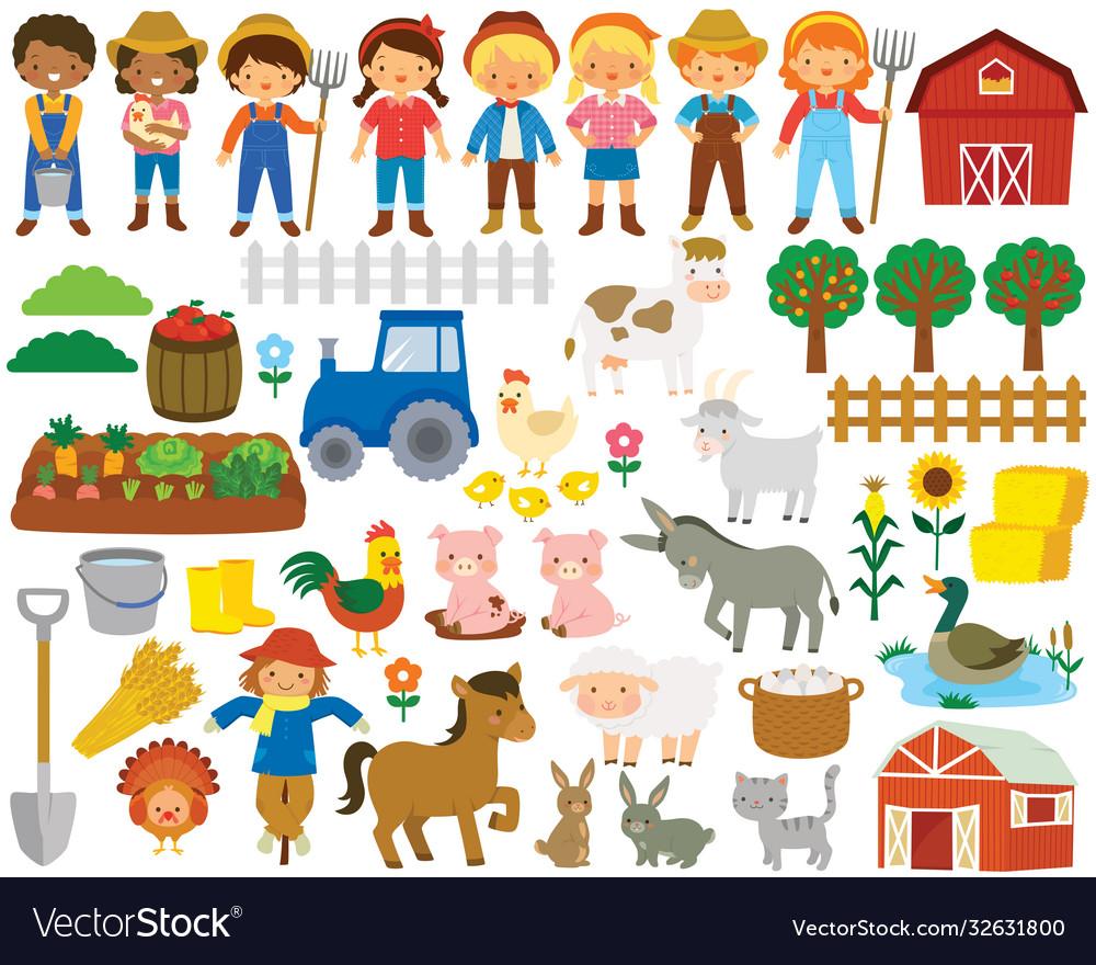 Farm life clipart set