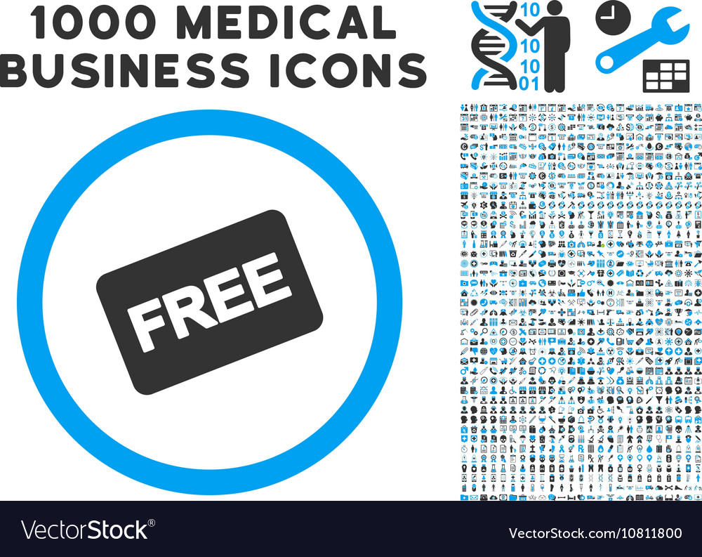 Free Card Icon with 1000 Medical Business Symbols Vector Image