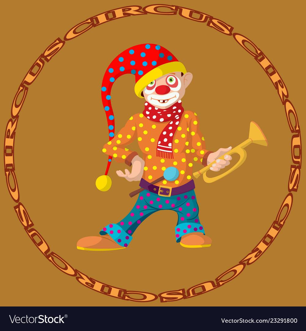 Funny cartoon circus clown cheerful joyful