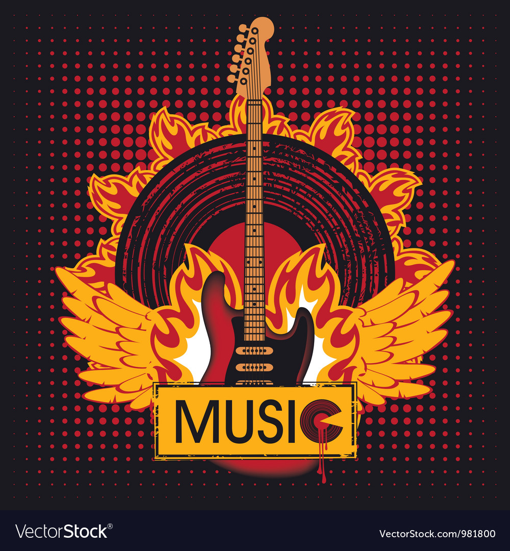 Guitar on fire vector image