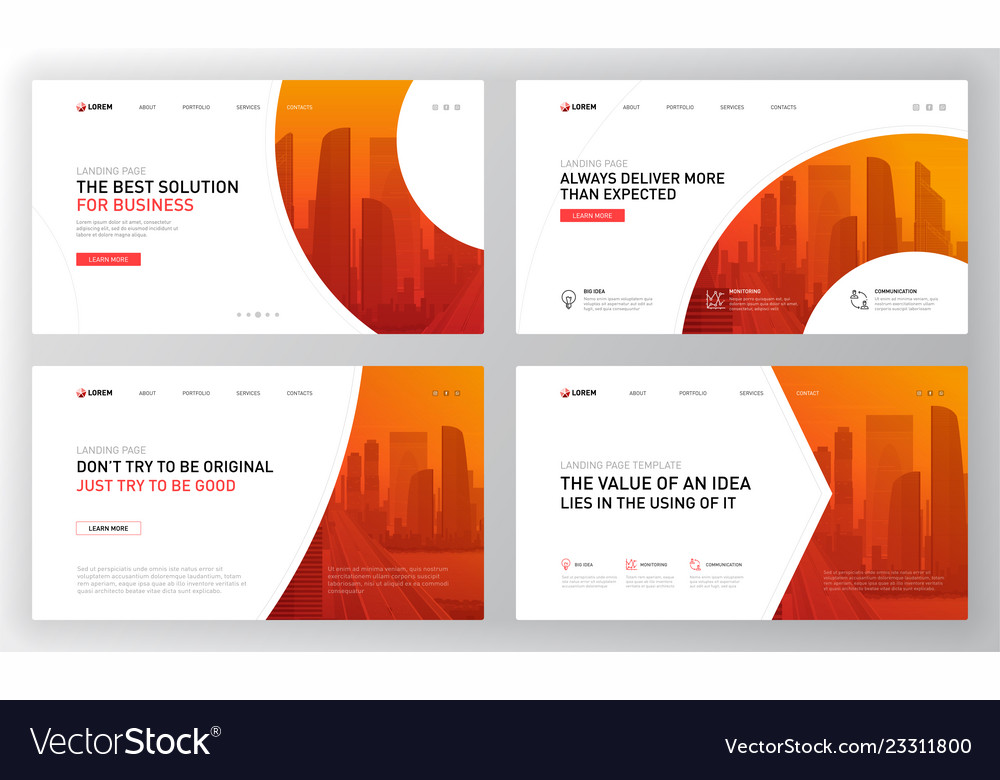Landing Pages Templates Set For Business