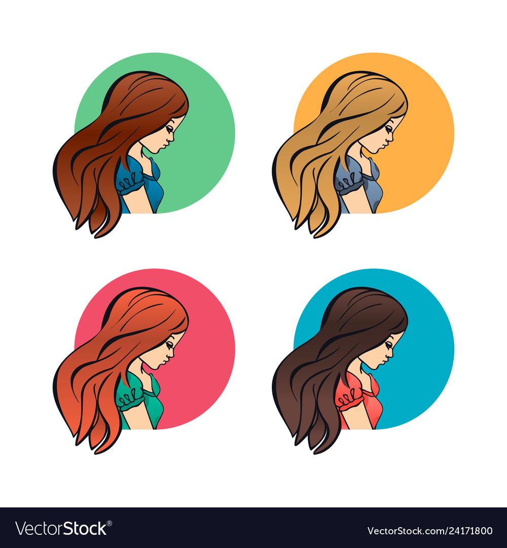 Portraits women girls lateral face profile and