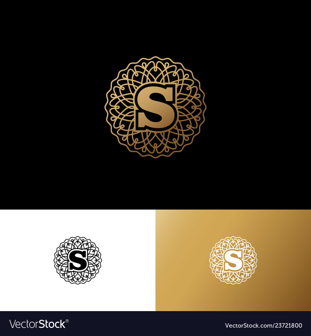 S gold letter monogram gold circle lace ornament