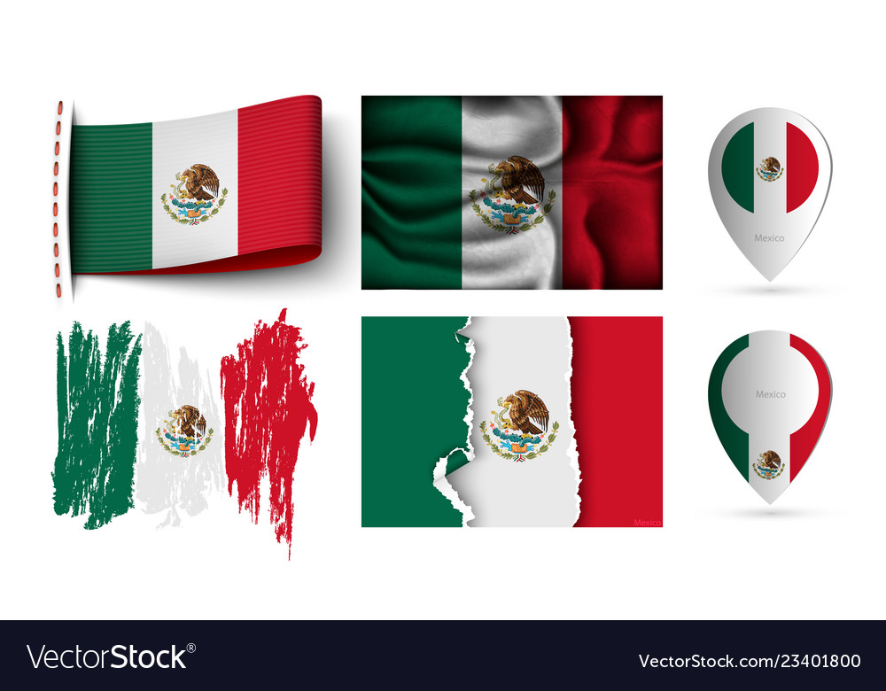 Set of mexico flags collection isolated