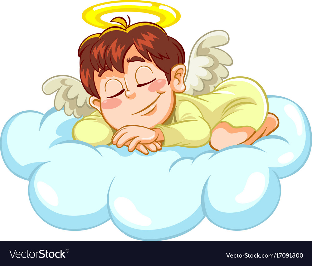 Sleeping little baby angel vector image