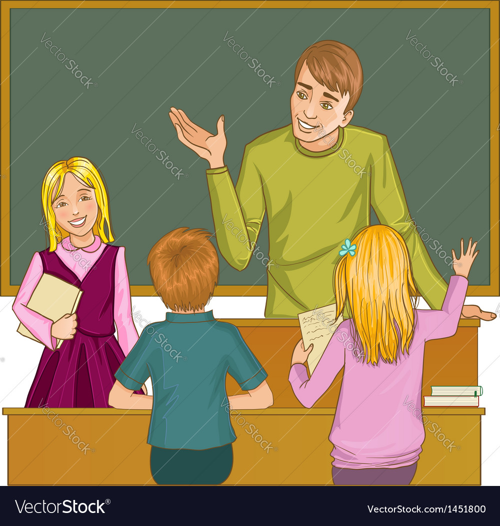 Teacher at blackboard in classroom with children
