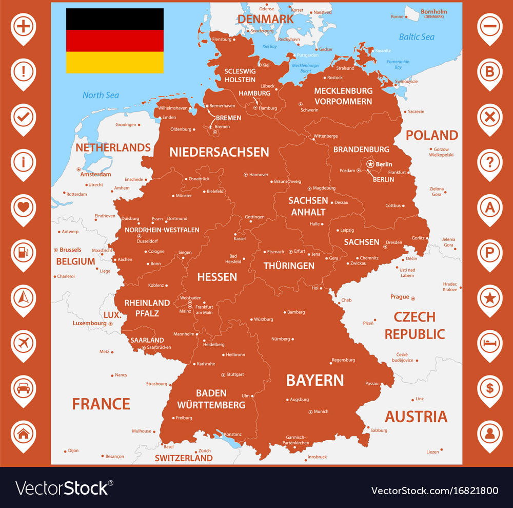 The Detailed Map Of The Germany With Regions Or Vector Image