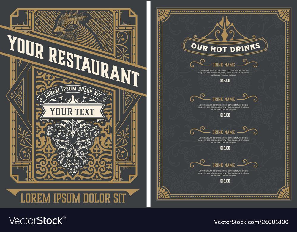 Vintage restaurant menu design template
