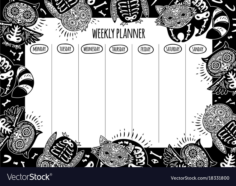 Weekly planner with tattoo design in outline