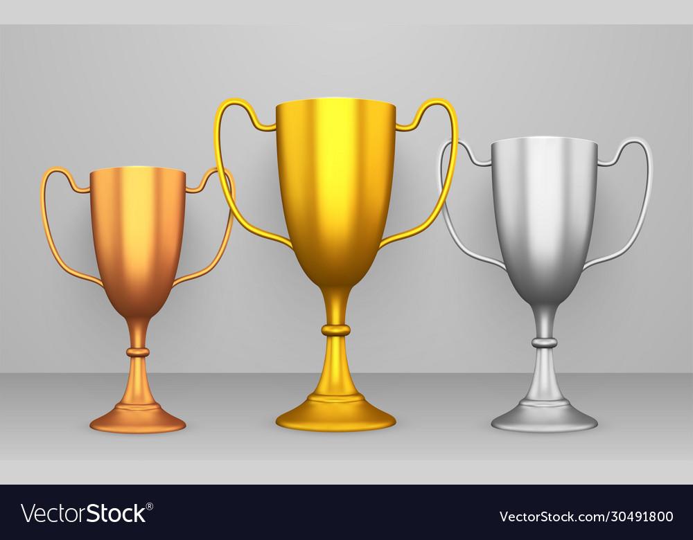Winner cups realistic set reward and achievement