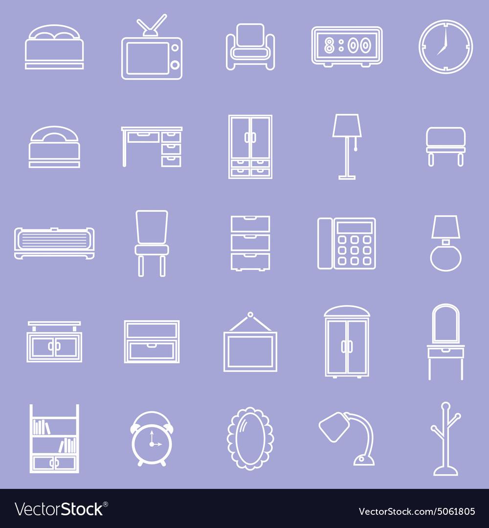 Bedroom line icons on violet background vector image