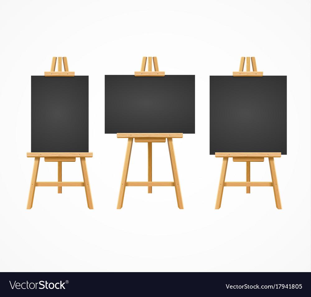 Black board easel blank empty template set