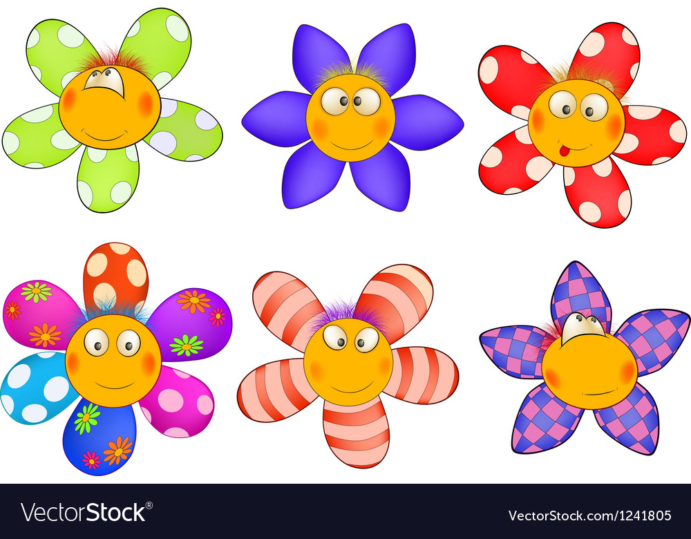 cheerful small flowers cartoon royalty free vector image rh vectorstock com flowers cartoon images free flower cartoon images hd