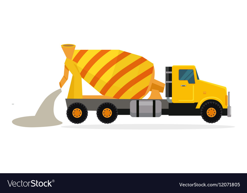 Concrete Mixing Truck in Flat Design
