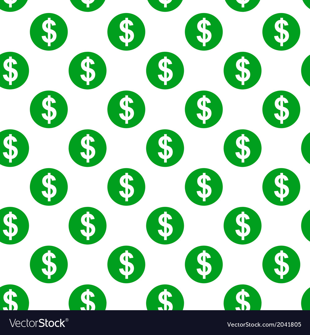 Dollar sign seamless pattern on white background
