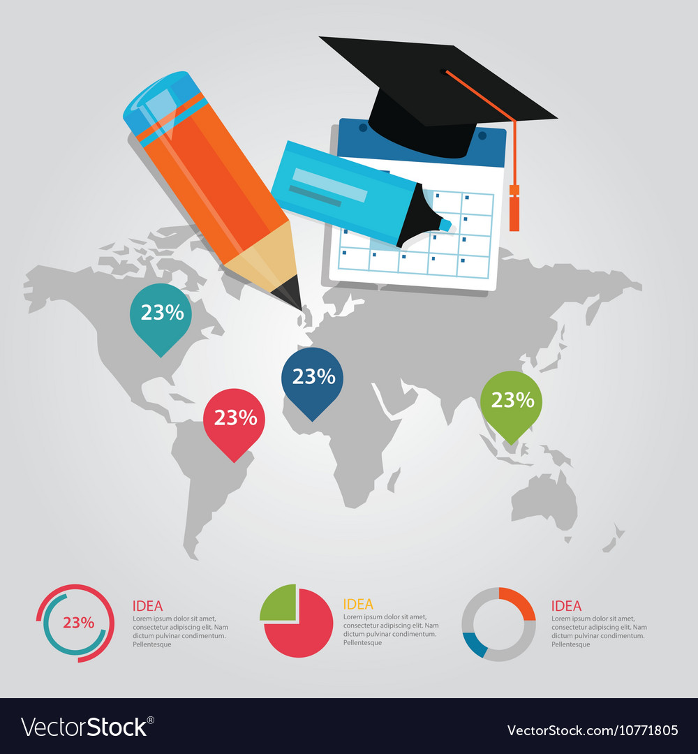 Education info graphic world map statistics cap vector image ccuart Images