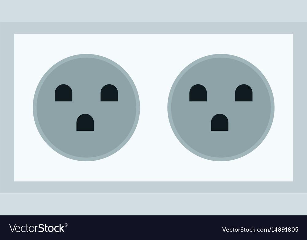 Electric double socket energy power vector image
