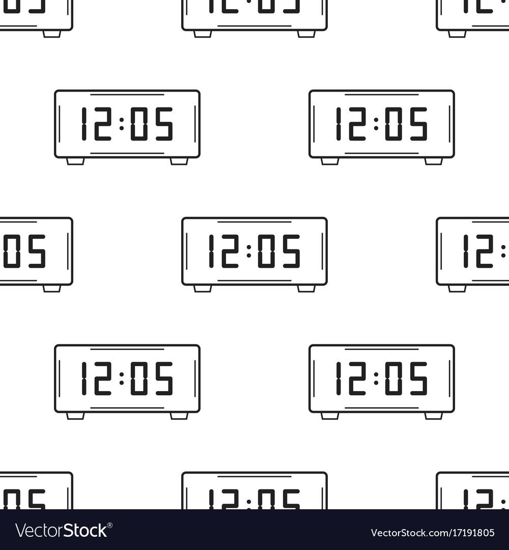 Electronic watch black and white seamless pattern