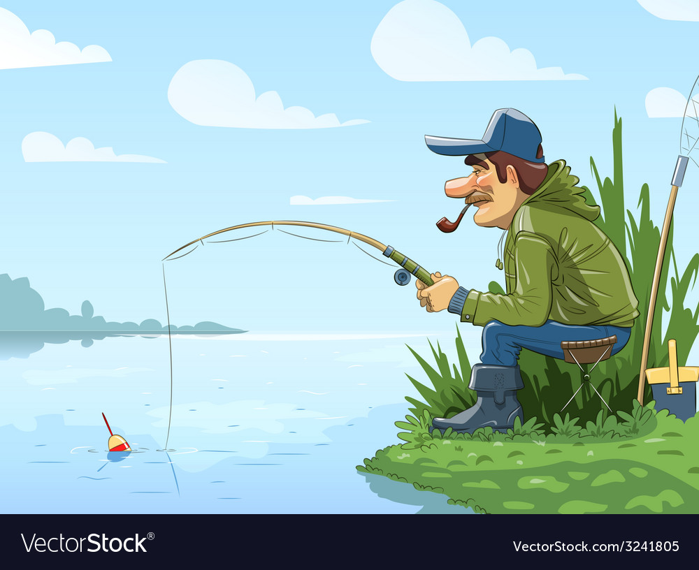 Fisherman with rod fishing on