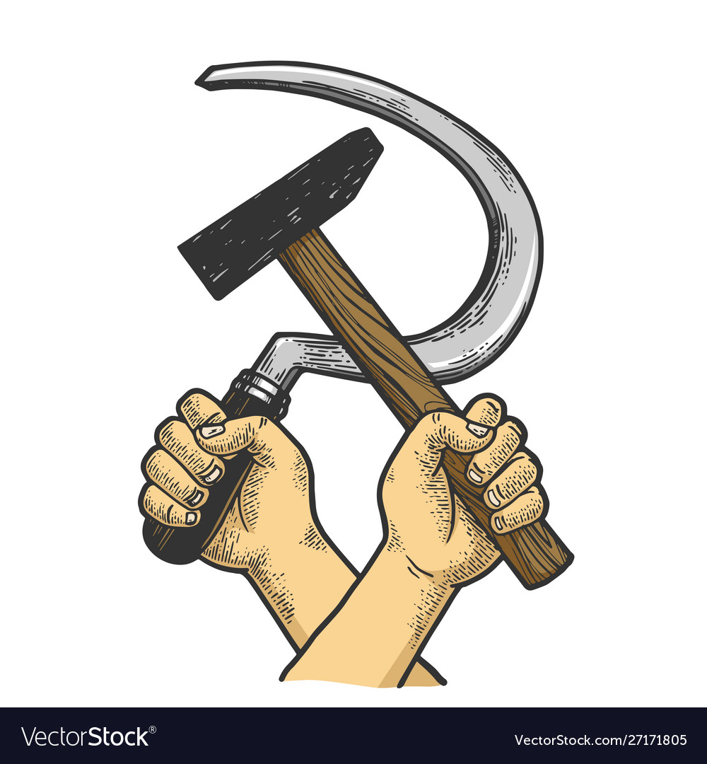 Hands with hammer and sickle sketch engraving