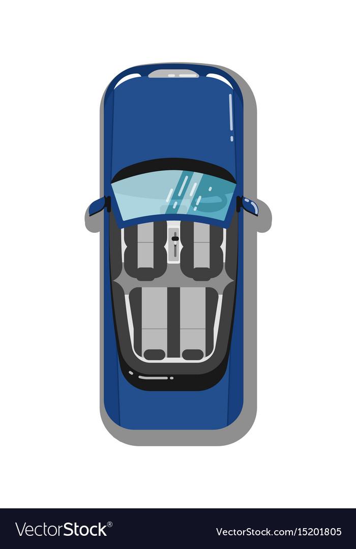 Modern cabriolet car top view icon vector image