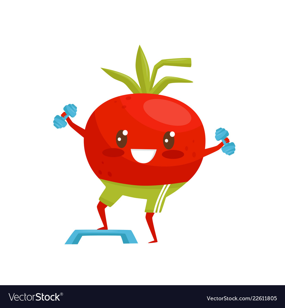 Red Funny Tomato Exercising With Dumbbells Vector Image