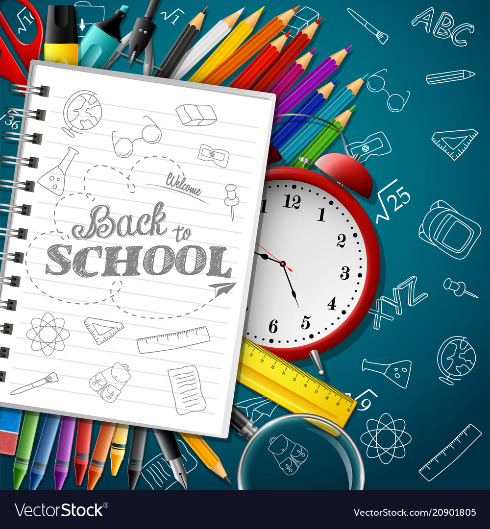 Shcool whiteboard background with school supplies