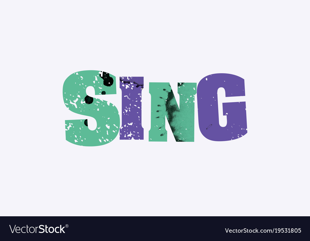 Sing concept colorful stamped word