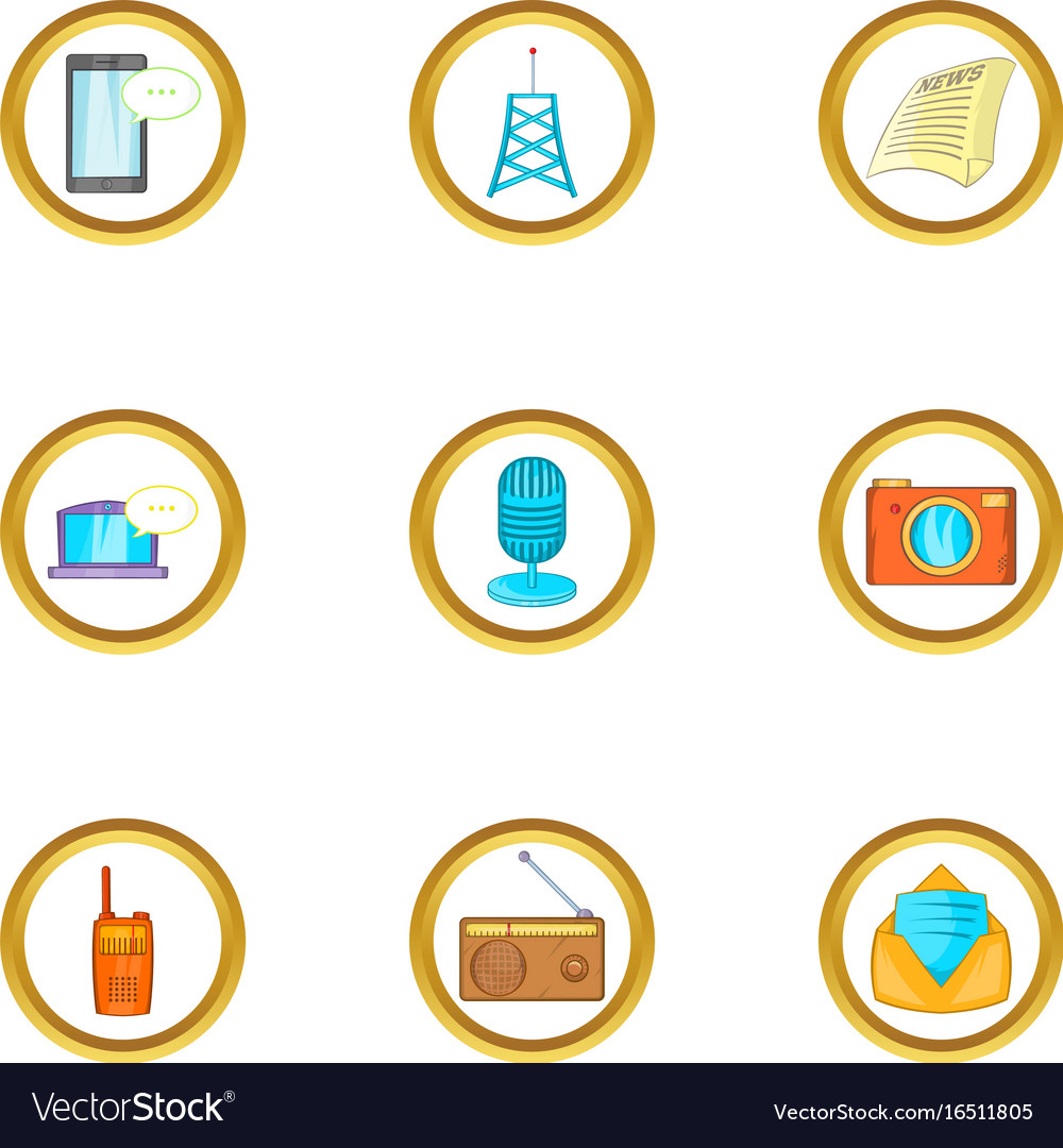 Social media icon set cartoon style