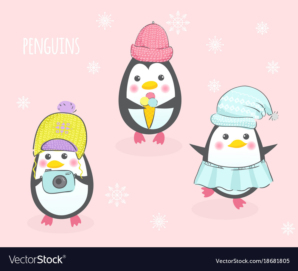 Three cute penguins in hats
